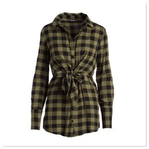 Buffalo Check Tie-Front Tunic